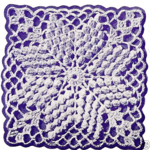Vintage Crochet Pattern To Make Popcorn Stitch Bedspread Block Motif Cotillion