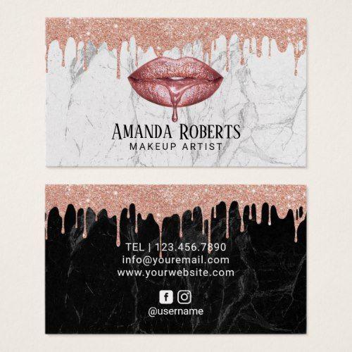 Makeup Artist Rose Gold Dripping Lips Chic Marble Business Card Zazzle Com Cartoes De Visita Salao De Beleza Papel De Parede De Marmore Moveis Para Salao