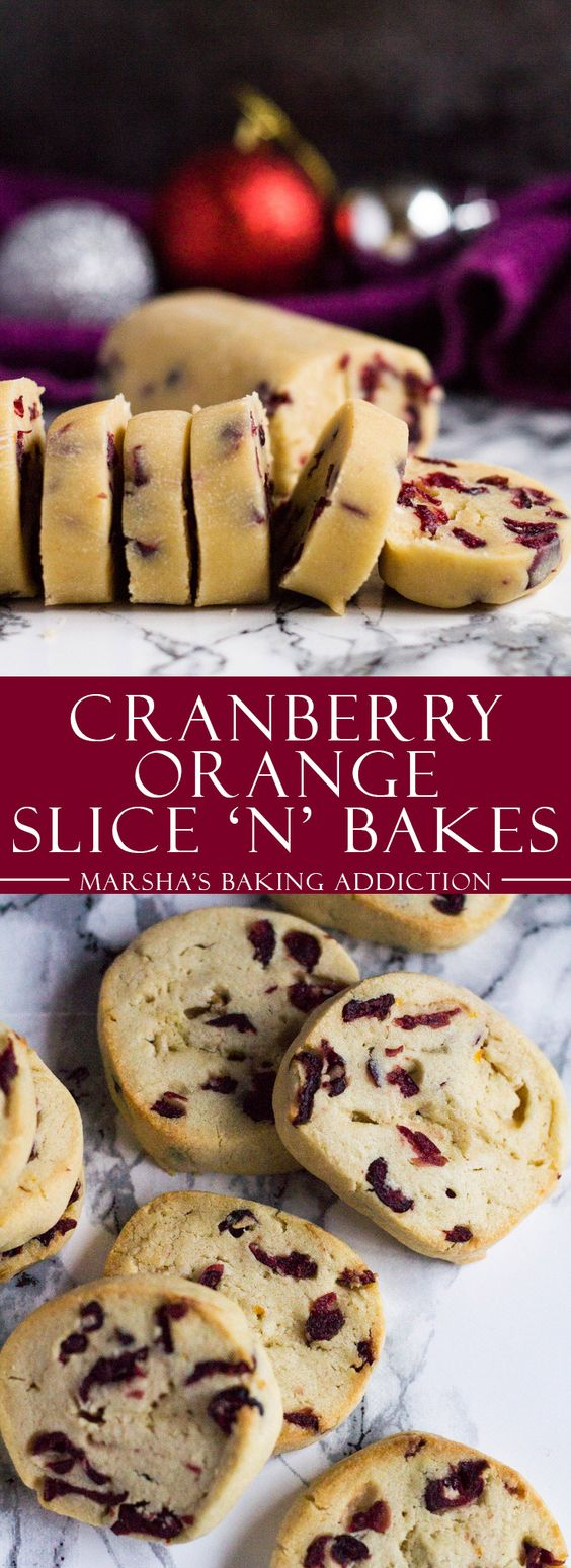 Cranberry Orange Slice 'n' Bake Cookies   marshasbakingaddiction.com @marshasbakeblog