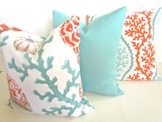 THROW PILLOWS 18x18 CORAL Throw Pillow Covers Orange Coral 18 x 18 Aqua Mint Green Decorative Throw pillows Indoor Outdoor