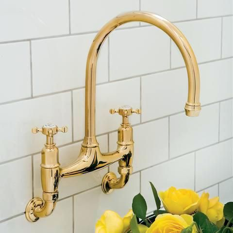 Perrin Rowe Wall Mounted Traditional Kitchen Bridge Faucet With Cross Handles And Gooseneck Spo Wall Mounted Taps Wall Mount Kitchen Faucet Wall Mounted Sink