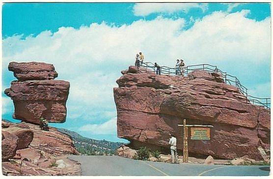 Balanced Rock Steamboat Rock Garden Of The Gods Colorado Chrome Postcard Balance Rock