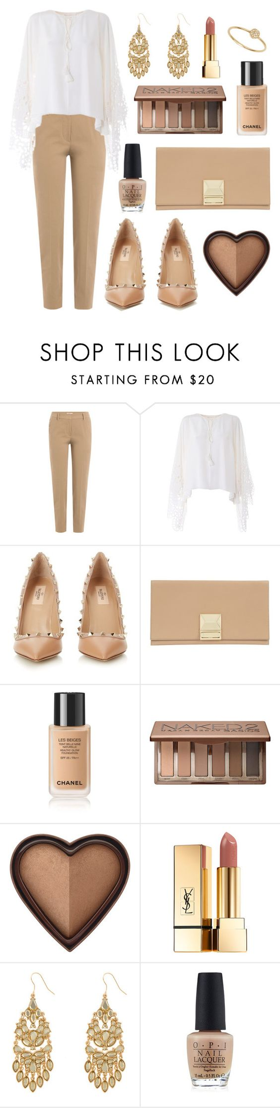"""Lacey Nudes"" by tasha-m-e ❤ liked on Polyvore featuring Brunello Cucinelli, Chloé, Valentino, Jaeger, Urban Decay, Yves Saint Laurent, Eloquii, OPI and Anine Bing"