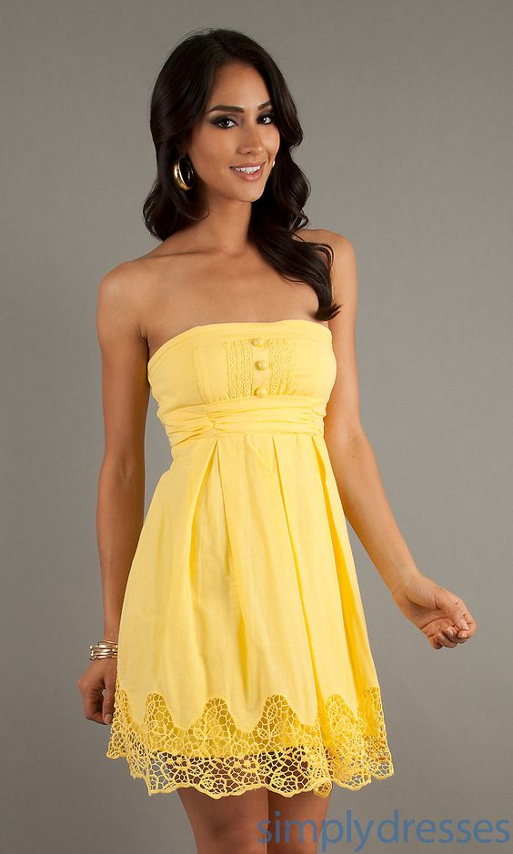 Dresses, Formal, Prom Dresses, Evening Wear: Short Casual Yellow ...