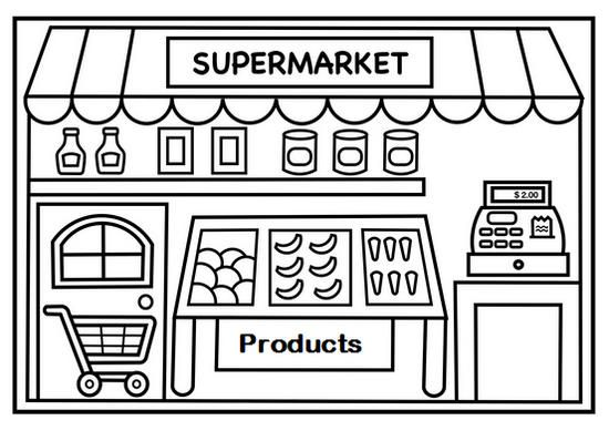 Shopping At Supermarket Coloring Page For Kids Lectura Y