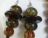 Spider Agate and Palmwood Earrings