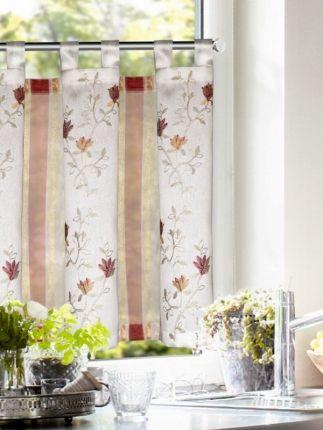 Elegante Küchengardine mit Schlaufen - Bestickt Scheibengardinen - küchengardinen mit schlaufen