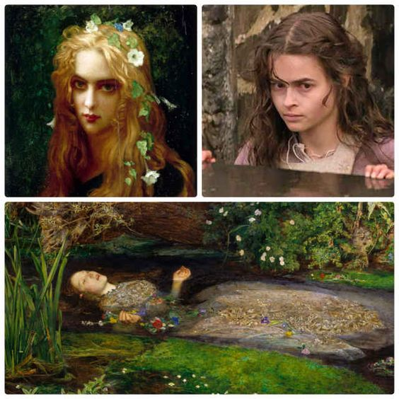 Clockwise from top left: Hernest Hebért, Helena Bonham Carter, Millais painting.