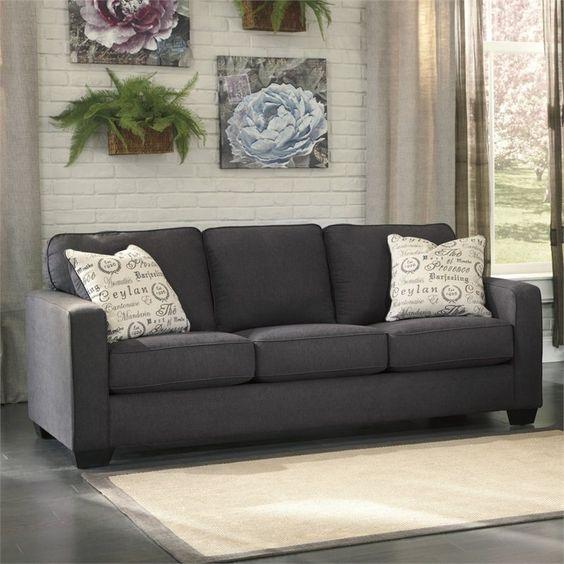 Microfiber sofa sofas and the pillow on pinterest for Sofa moderne marron gris