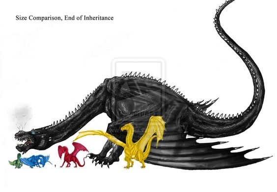 Size comparison between the dragons of Inheritance.  See tiny Eragon between Saphira and Thorn? ^_^