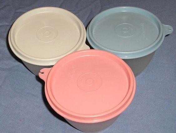 Vintage Tupperware bowls with pastel lids by SquareNailSalvage
