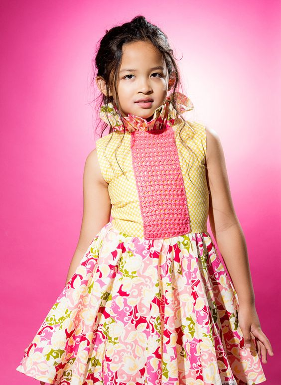 Pink and yellow floral dress by Anzhelika Crochet. www.anzhelikacrochet.etsy.com
