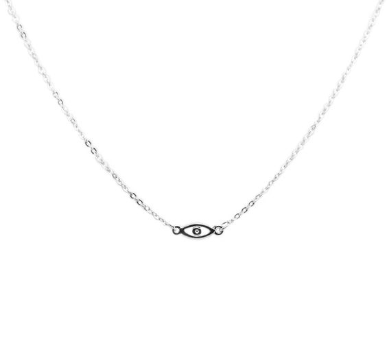 Silver Evil Eye Necklace by Reese and Rose, made in USA