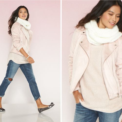 Pink moto jacket and jeans, casual spring or fall outfit