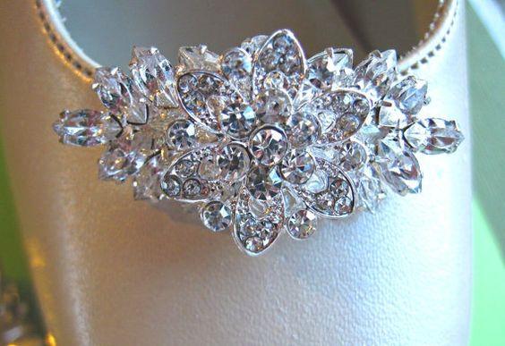 Crystal Wedding Shoe Clips Bridal Accessories by MissJoansBridal
