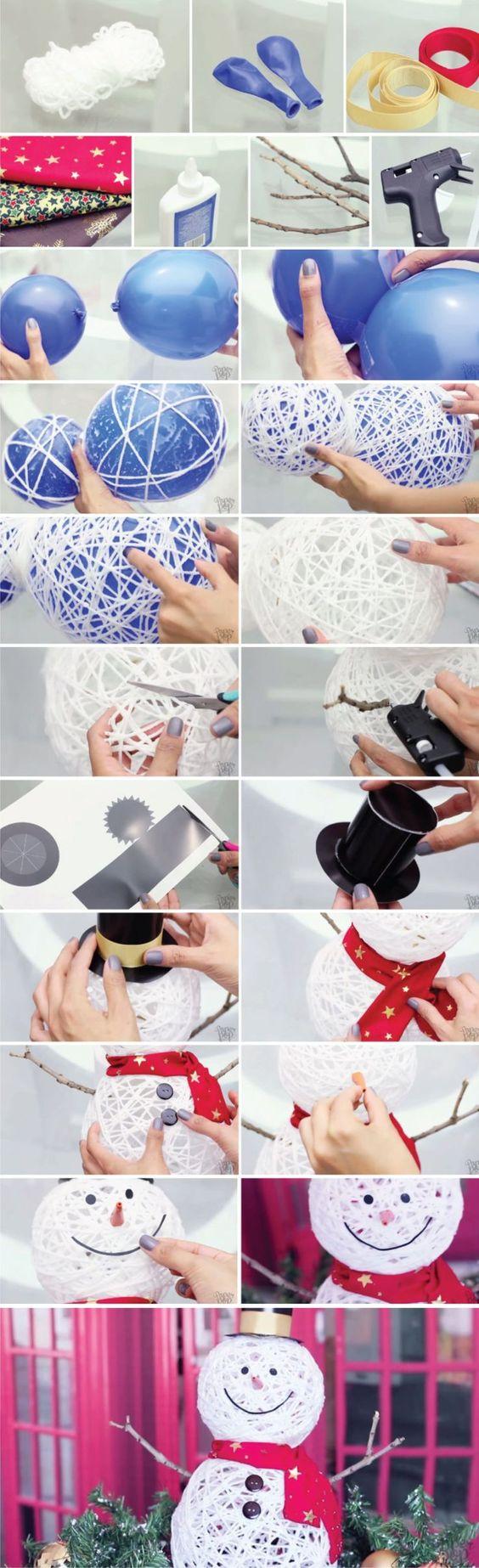 Ya habíamos visto aquí el mismo sistema para crear una cesta o una lámpara, pero en este caso lo utilizan para generar un interesante muñeco de nieve. Utilizando globos como moldes para fijar el hilo y endurecerlo mediante cola para crear la base del muñeco a la que le siguen el resto de elemen…: