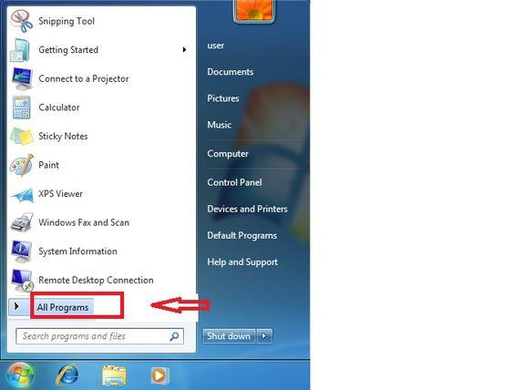 Fix Aol Mail Error Code 521- Navigate to 'All Programs.'