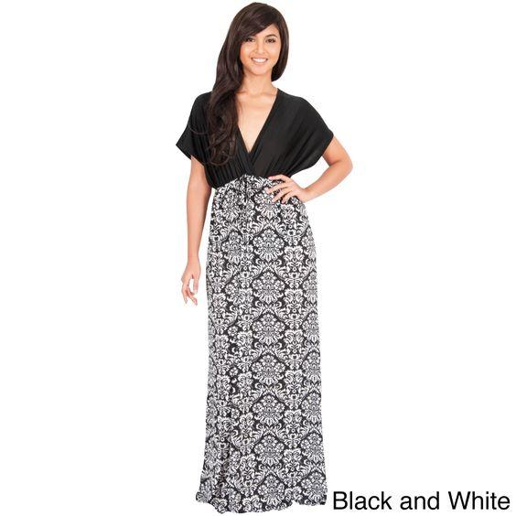 Global KOH KOH Women's Kimono Sleeve V-Neck Formal Maxi Dress