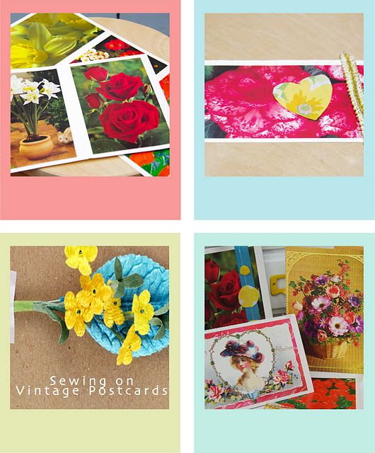 Spice up lame postcards by sewing fabric scraps over them!