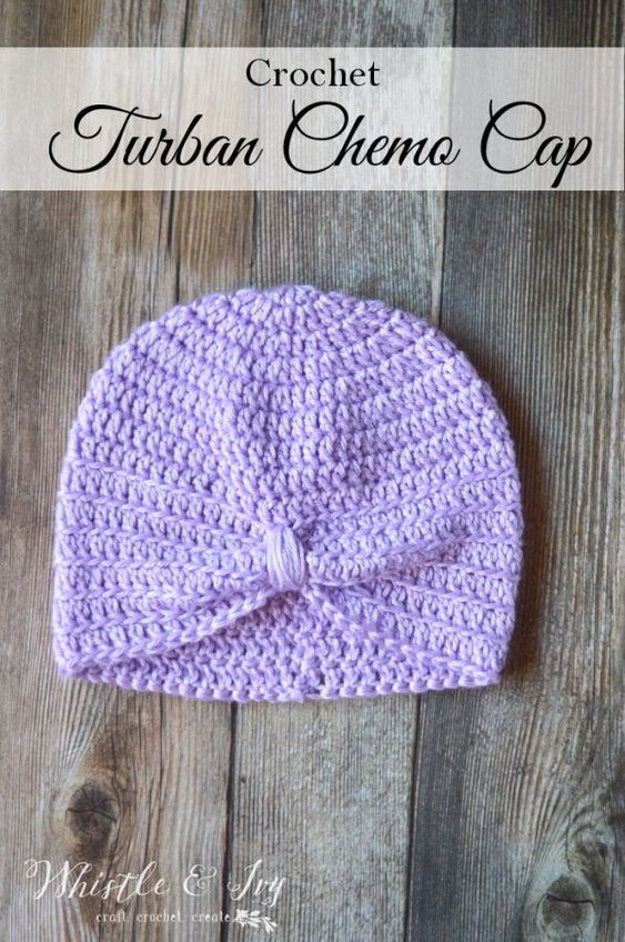 Crochet Turban Chemo Cap - Crochet this pretty and comfortable turban chemo cap with this crochet pattern. Works up quickly and easily.: