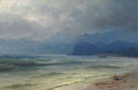 """The coast of Koktebel, Crimea"" by Ivan Aivazovsky"