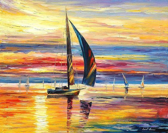 "regram @afremov Oil painting ""Aspiration"" by @afremov #art #afremov #artist #painting #sea #sailing"