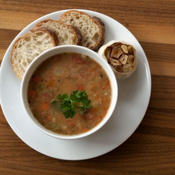White Bean with Tomato Soup and Roasted Garlic Spread.