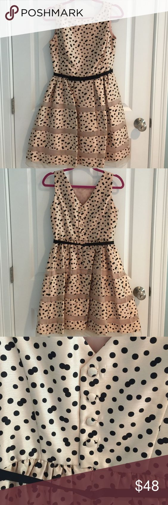"Taylor Dress, NWOT, size 4 Nude Taylor dress with black polka dots. Black bow belt and mesh detailing on skirt. Size 4, new without tags. Materials: polyester and silk.  No trades, all offers will be negotiated when using the ""offer"" button. Please read my reviews and buy with confidence! Taylor Dresses Dresses"