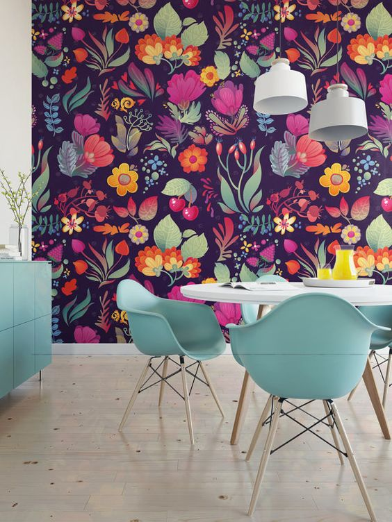 Vintage Floral / Removable Wallpaper / Wall Decor / Wall Mural