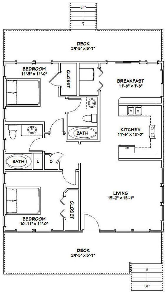 30x32 House 2 Bedroom 2 Bath 960 Sq Ft Pdf Floor Plan Etsy Small House Floor Plans Cottage Floor Plans 1200 Sq Ft House