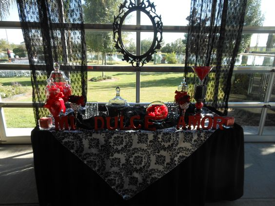Red and black damask candy bar