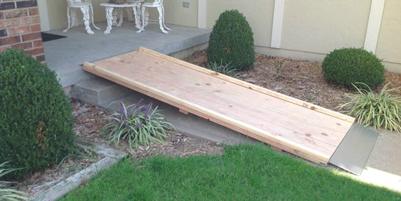 Wheelchair ramp wheelchairs and how to build on pinterest for Handicap stairs plans
