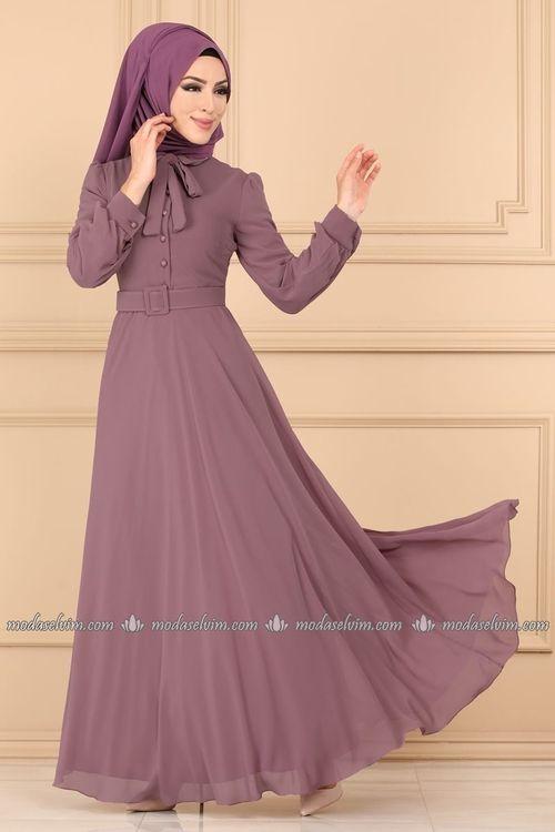Modaselvim Elbise Fularli Sifon Tesettur Elbise 9534w153 Gul Kurusu Elbise Guller