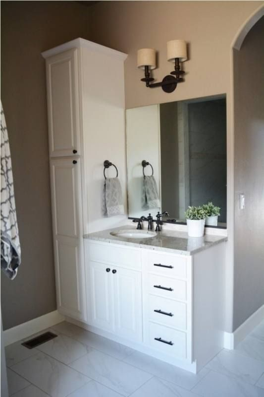 Bathroom Vanity With Linen Cabinet Bathroom Vanity Designs Small Bathroom Vanities Bathrooms Remodel