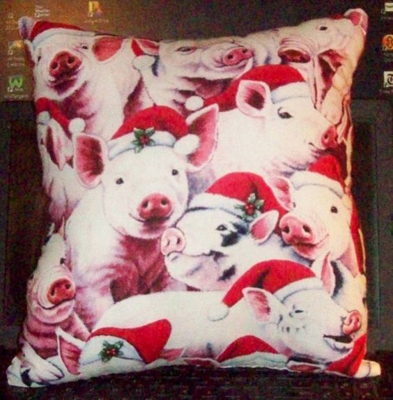 PIGS in SANTA HATS Pillow  Same Photo on Both by SewCraftCrazy4U