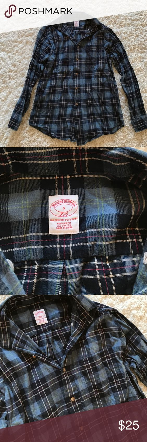 Brooks Brothers blue Plaid Button Down Great flannel shirt, only worn 1-2 times. No flaws. Material is soft and warm Brooks Brothers Shirts Casual Button Down Shirts