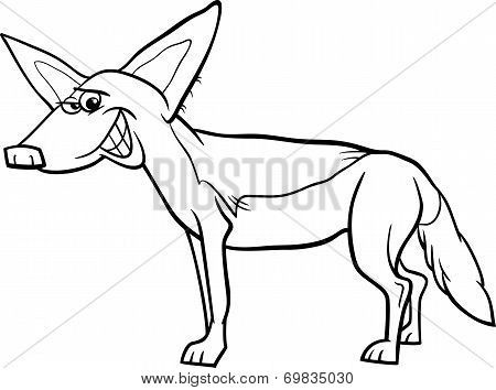 Jackal Animal Cartoon Coloring Page Poster Cartoon Coloring