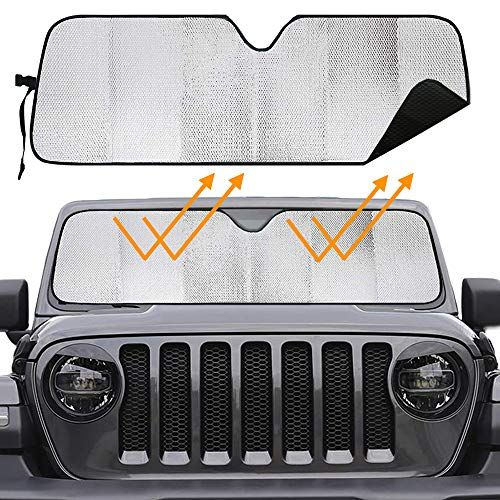 Big Hippo Windshield Sun Shade For 2007 2019 Jeep Wrangler Rubicon Sahara Tj Jk Jku 2 4 Door Blocks Uv Rays Sun Visor Protector Car Sun Shade Keep Your Vehicl Jeep Wrangler Rubicon