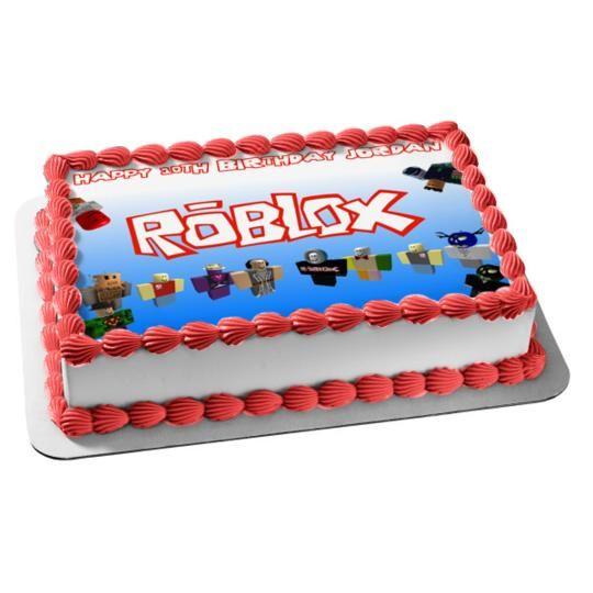 Roblox Custom Player Happy Birthday Edible Cake Topper Image 1 2 Sheet Abpid00150v2 Walmart Com Roblox Birthday Cake Roblox Cake Edible Cake Toppers