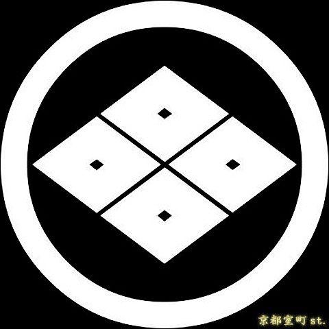 家紋シール 貼り付け家紋 丸に四つ目菱 Kom126 黒地の