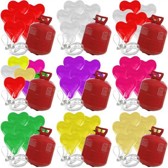 100 Herz Luftballons mit Helium Ballon Gas Hochzeit Valentinstag Komplettset