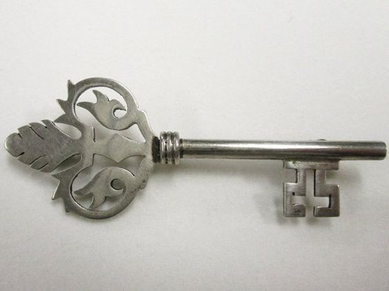 Vintage Taxco Sterling Key Pin Ornate by COBAYLEY on Etsy