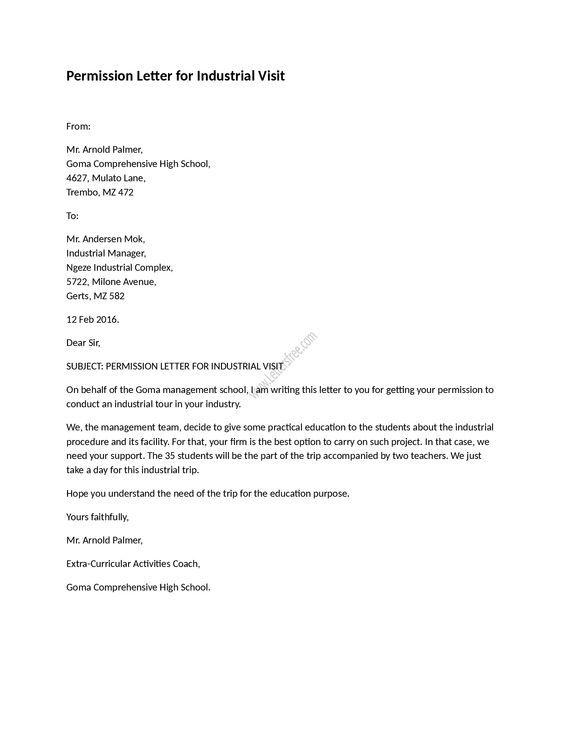 Permission Letter For Industrial Visit Letters For Kids