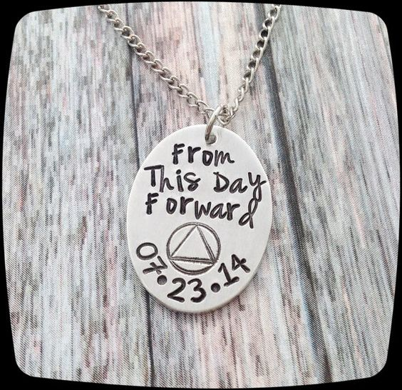 Sobriety Gift, From This Day Forward, Sobriety, Addiction Recovery Necklace, Sobriety Date Jewelry