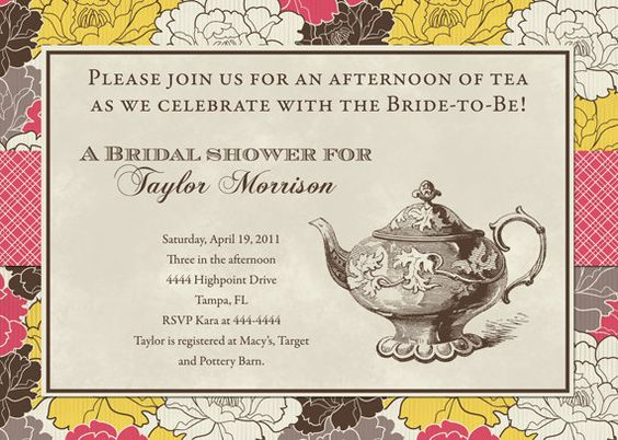 fall floral tea party bridal shower invitation