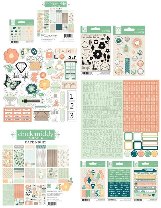 chickaniddy Crafts - Date Night Collection embellishment and pads