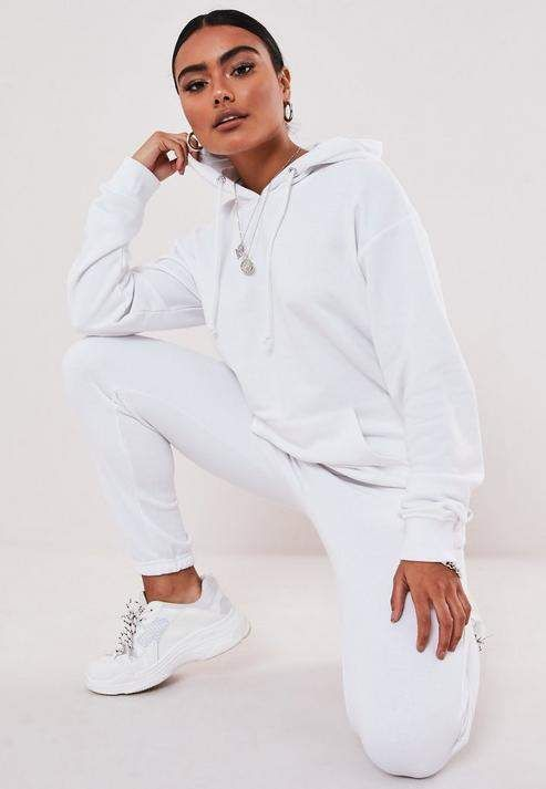 Missguided White Hoodie And Joggers Co Ord Set White Hoodie Hoodie Outfit Casual Winter Fashion Looks