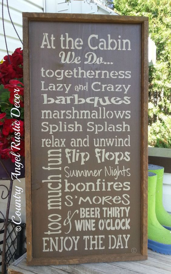 At the cabin we do handpainted wood sign cabin rules for Cabin signs wood