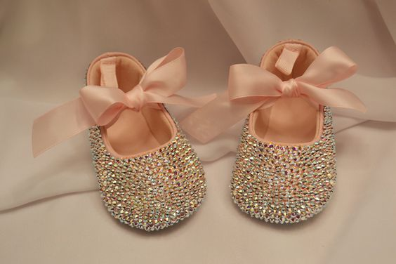Pink Baby Rhinestone Shoes Swarovski Crystal ...shut. up. i may or may not want another girl just so i can put these on her ;)