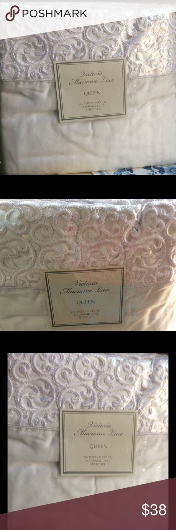 NEW VICTORIAN MACRAME IVORY SHEET SET QUEEN SIZE Lovely, new in the package Ivory Queen sized sheet set From Victorian Macrame There is beautiful Lace work on the top sheet and on the pillowcases. This is a high quality sheet set the material is 50% cotton, 50% Poly. It washes and drys beautifully , doesn't wrinkle. I have a blue set. Heavy material is over the 5 pound shipping limit, So I have to pay an additional $3.99 for the shipping label. So I have to set the price at about $34.There…